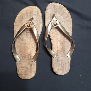 Brown/bronze michael Kors flip flops